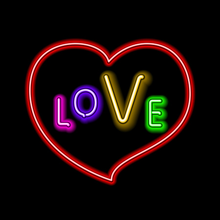 Love pink neon sign makes it quick and easy to customize your romance holiday projects. Used neon vector brushes included. Çizim