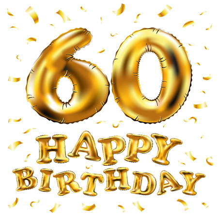 vector happy birthday 60th celebration gold balloons and golden confetti glitters. 3d Illustration design for your greeting card, invitation and Celebration party sixty 60 years white background art