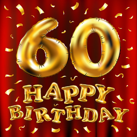 vector happy birthday 60th celebration gold balloons and golden confetti glitters. 3d Illustration design for your greeting card, invitation and Celebration party of sixty 60 years red curtain art Vettoriali