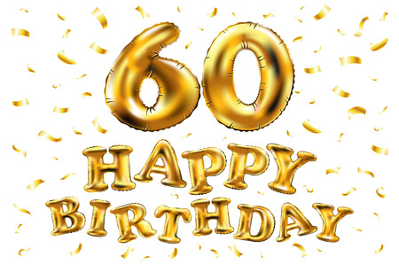 Happy birthday 60th celebration gold balloons and golden confetti glitters on a white background