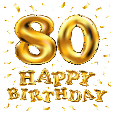 vector happy birthday 80th celebration gold balloons and golden confetti glitters. 3d Illustration design for your greeting card, invitation and Celebration party of eighty 80 years white art