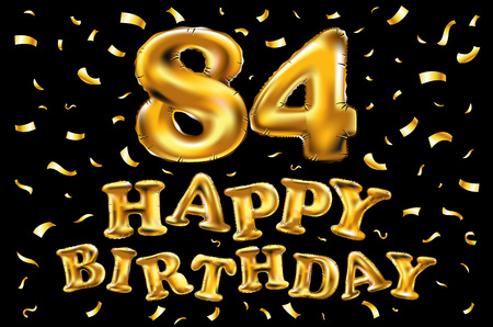 Vector feliz cumpleaños 84.a celebración globos de oro y confeti dorado brilla. Diseño de ilustración 3D para su tarjeta de felicitación, invitación y fiesta de celebración de ochenta y cuatro 84 años de arte negro Ilustración de vector