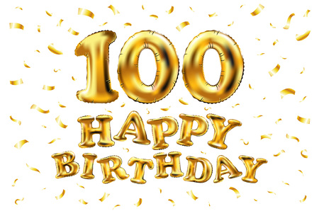 Happy 100th birthday celebration banner with gold balloons and golden confetti glitters. 3d illustration design for your greeting card, invitation and celebration party.