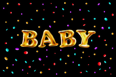 Gold letter baby balloons. Birthday gold characters balloons. For celebration, party, date, invitation, event card, happy Birthday. Shine glossy metallic balloons background. Baby shower. One birthday art
