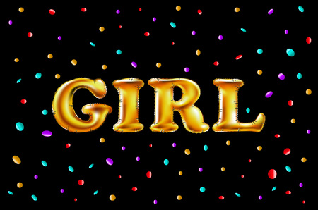 Gold letter girl shine glossy metalic balloons. happy Birthday characters. For celebration, party, date, invitation, event, card, confetti background. Illustration