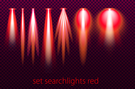 Set of red searchlights on a transparent background. Bright lighting with spotlights. vector illustration art