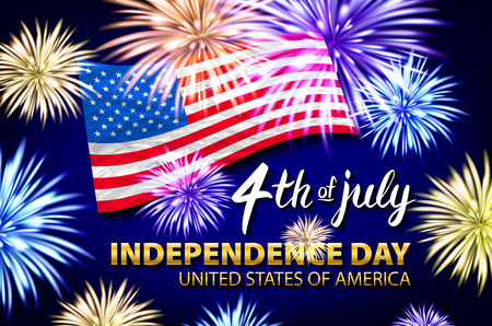 Celebrating the 4th of July, Independence Day fireworks vector art Çizim