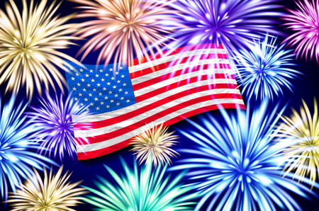 Aerial fireworks display behind a fluttering USA. Flag. 4th of July, Independence Day vector art