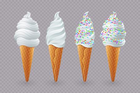 Tasty ice cream with vanilla in a waffle cup. Vector stock image. art Ilustração Vetorial