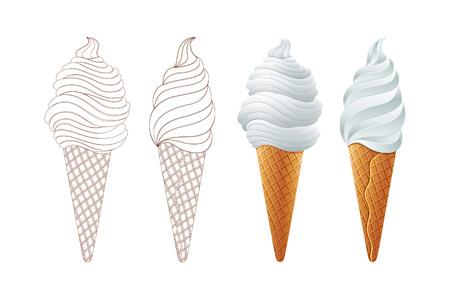 Verschillende soorten ijs in wafels geïsoleerd op een witte achtergrond Stockfoto - 104303344