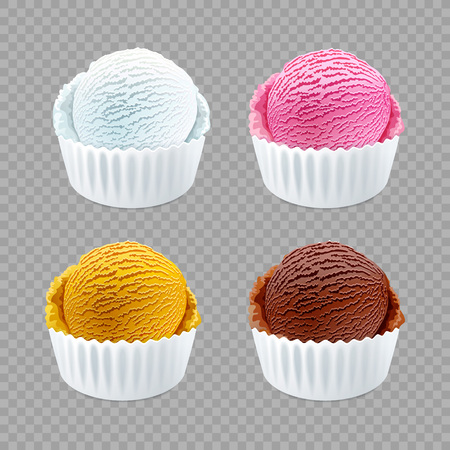 Strawberry, vanilla, chocolate orange different flavor ice cream scoops side view on transparent background vector art