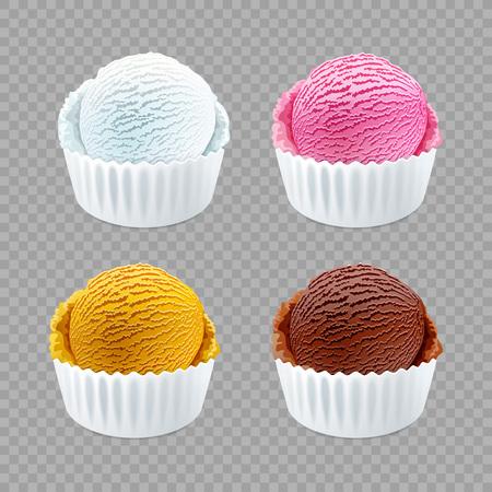 Strawberry, vanilla, chocolate orange different flavor ice cream scoops side view on transparent background vector art Stock Vector - 115098229