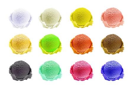 Eiskugeln Set mit verschiedenen Farben und Geschmacksrichtungen mit Beeren, Nüssen und Früchten Dekoration isoliert auf weißem Hintergrund Vektorgrafiken