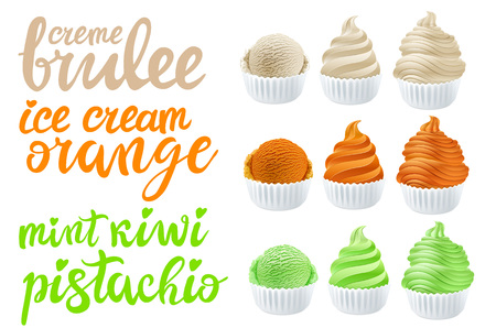 Green tea ice cream with mint vector Set of pistachio, kiwi, orange, creme brulee with of different shapes in a cup on transparent background lettering hand made text art