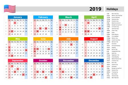 vector public holidays for the USA Calendar 2019. Colorful set. Week starts on Sunday. Basic grid art