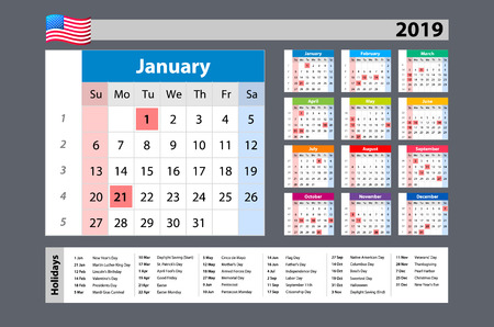 vector Simple calendar 2019 - one year at a glance - starts Monday with public holidays for the USA art