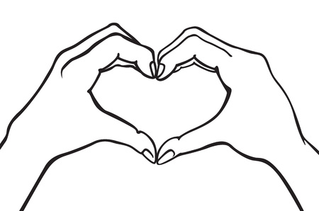 two hands making heart sign. Love, romantic relationship concept. Isolated vector illustration line style. art