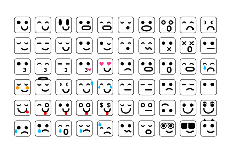 vector black Set of smile icons. emoji. emoticons face, vector illustration art