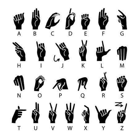 vector language of deaf-mutes hand. American Sign Language ASL Alphabet art Çizim