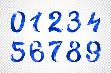 set of festive blue ribbon digits vector. iridescent gradient number geometric design on white background art Vetores