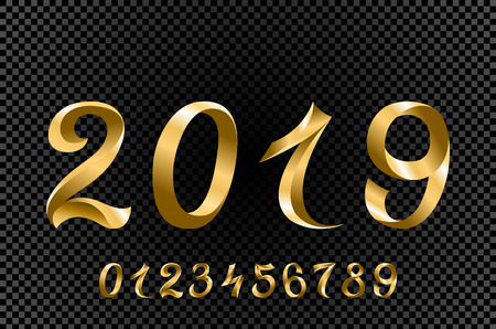 vector Set of Gold Colored Metal Chrome numbers. 1, 2, 3, 4, 5, 6, 7, 8, 9, 10, logo design 2019 art  イラスト・ベクター素材
