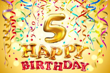 wektor balon Wszystkiego najlepszego z okazji urodzin pięć lat. 5 Kolorowa świąteczna ilustracja na przyjęcie świąteczne i złote tło dekoracji dekoracji