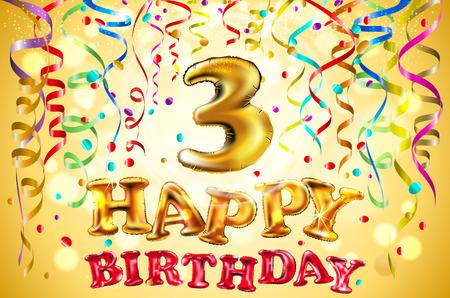 ballon de vecteur Joyeux anniversaire trois ans. 3 illustration festive colorée pour l'art de fond d'or de fête et de décoration