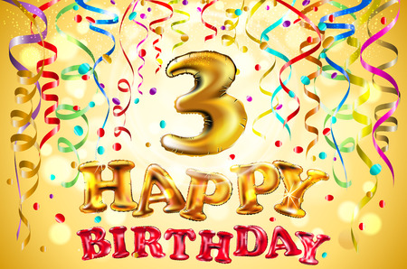 vector balloon Happy birthday three years. 3 Colorful festive illustration for celebratory party and decoration gold background art