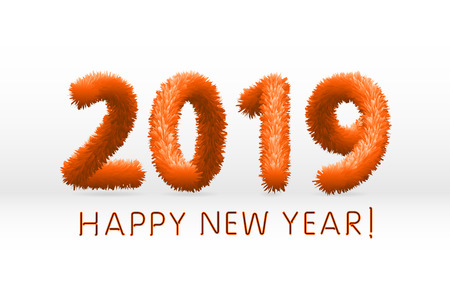 wooly orange hairy shaggy wool 2019 Happy New Year. white background. Vector illustration