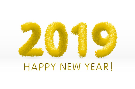 wooly yellow hairy shaggy wool 2019 Happy New Year. white background. Vector illustration art