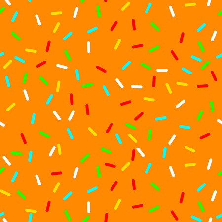 vector Seamless background with orange donut glaze. Decorative bright sprinkles texture pattern design art