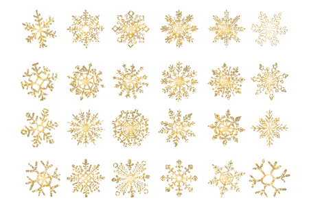 Set of beautiful golden christmas snowflakes for your design, stock vector illustration