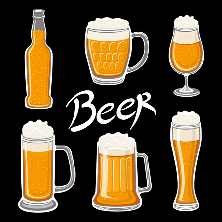 vector Set of beer glass, mug, barrel, bottle, and hop. Craft beer calligraphy design and minimal flat vector illustration of different types of beers. Oktoberfest equipment. illustration art