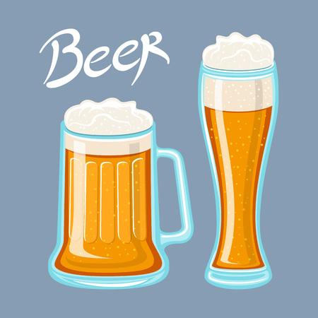 Vector image of mugs of beer glass. Drinks with a lot of foam. flat Vector illustration art Ilustração