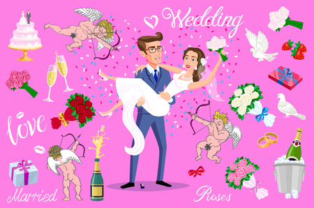 set vector Just married, newlyweds, bride and groom set. Happy Couple celebrating marriage, dancing, kissing, hugging, holding each other in arms, cut cake, jumping after ceremony art Illustration
