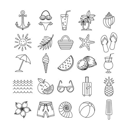 vector Summer Icons Set Outline Holiday. black sketch art Иллюстрация