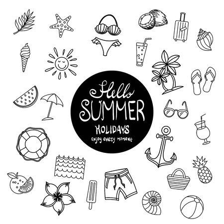set summer icon design elements Summer time. Beautiful poster. holidays. vector illustration. vacation. Tropical greeting card Иллюстрация