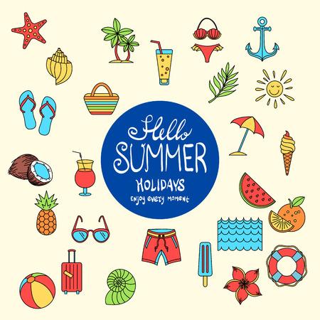 Hello Summer collection. Vector illustration of colorful funny ice cream, palm tree, sunglasses, pineapple, watermelon, umbrella, anchor, orange, coconut, juice, flower, suitcase, bikini, Lifebuoy art Иллюстрация