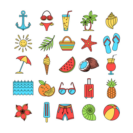 Collection of Summer icons vector Set Outline Holiday. color sketch art