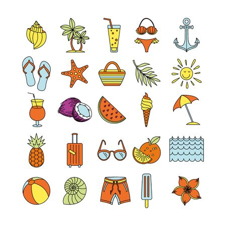 Summer Time in Beach Sea Shore with Objects. Vector Illustration. Collection icons Set Outline Holiday. color sketch art