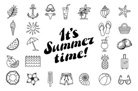 set summer icon design elements Summer time. Beautiful poster. holidays. vector illustration. vacation. Tropical greeting card art Иллюстрация