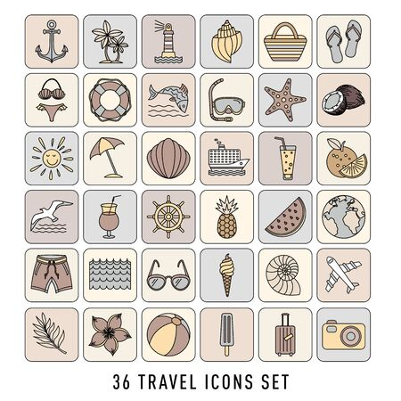 summer Set of 36 travel icons, thin line style, vector illustration Outline Holiday. sketch art Иллюстрация