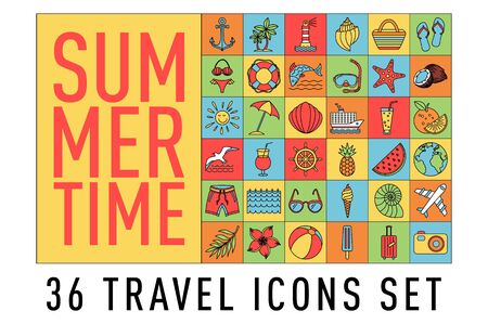 summer Set of 36 travel icons, thin line style, vector illustration Outline Holiday. color sketch art