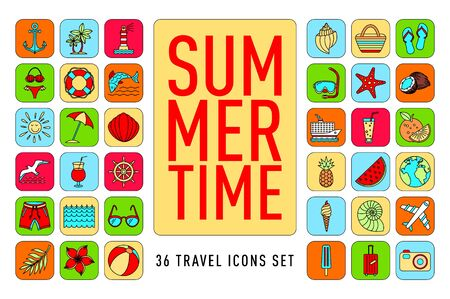 summer Set of 36 travel icons, thin line style, vector illustration Outline Holiday. color sketch art Banque d'images - 129734393