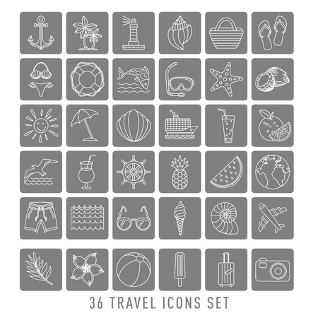 summer Set of 36 travel icons, thin line style, vector illustration Outline Holiday. black sketch art Banque d'images - 129734403
