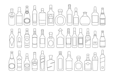 vector Alcohol bottles line icons set. illustration drinks. Object for advertising and web art Stock Vector - 123750470