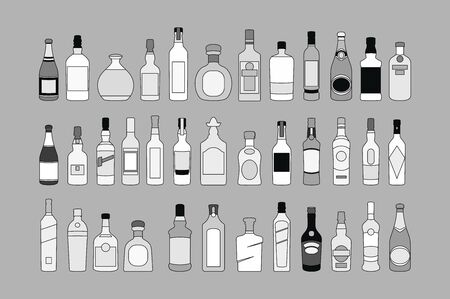 vector Alcohol bottles line icons set. illustration drinks. Object for advertising and web art