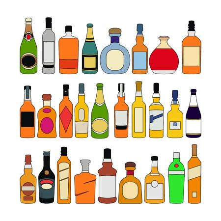 Set of alcohol bottles glass. color isolated on white background sketch illustration vector art