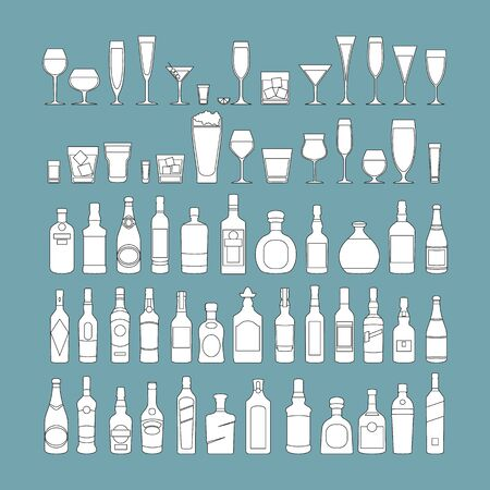 bottles and glasses line black icon set vector illustration. Holiday celebration. Alcohol drinks on blue background