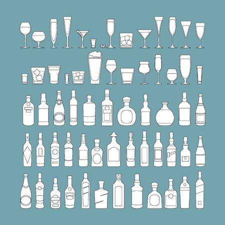 bottles and glasses line black icon set vector illustration. Holiday celebration. Alcohol drinks on blue background